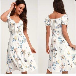 Ida White Floral Print Tie Front Midi Dress
